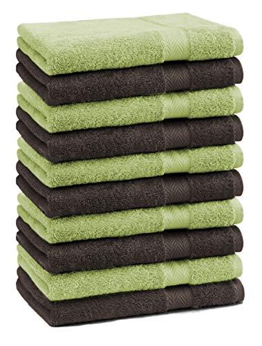 Betz Lot de 10 Serviettes débarbouillettes lavettes Taille 30x30 cm 100% Coton Premium Couleur Vert Pomme et Marron foncé