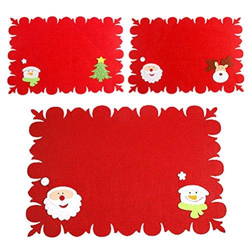 OULII Tovagliette Natalizie con Tasche portaposate in Rossa per Decorazione Tavolo Natale 3PCS
