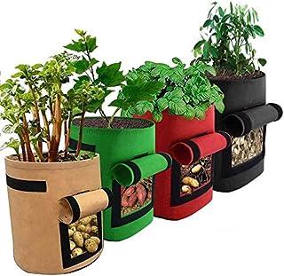 LATERN 4 st potatisodlingspåsar, 7 gallon potatisodlingspåsar med klaff och handtag för potatis, tomat, morot (grön)