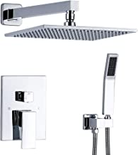 TNOMS Bathroom Shower Faucet Mixer Set Complete 12'' Luxury Rainfall Shower Combo System With Valve Wall Mounted, Polished Chrome, SA012P