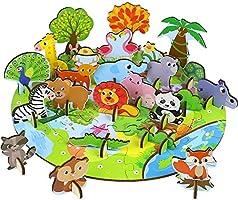 Fajiabao Wooden Jigsaw Puzzle Animals Toys - Wooden Puzzle Fine Motor Skills Toys 3d Puzzle for Kids Educational Kids...