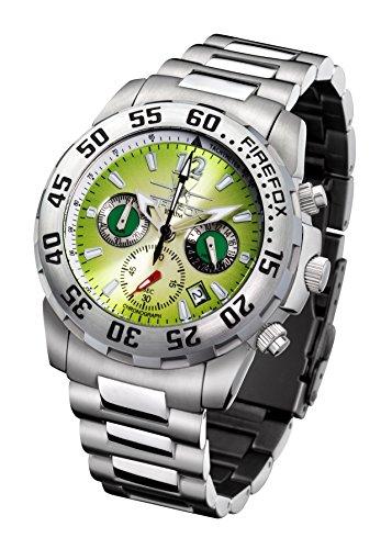 FIREFOX GLOBALIZER FFS35-108 smaragdgroen chronograaf herenhorloge dameshorloge horloge veiligheidsvouwsluiting massief roestvrij staal 10 ATM waterdicht Miyota werk OS20