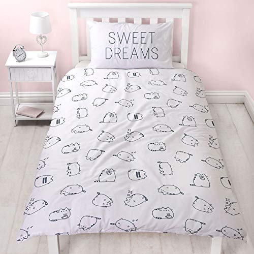 Pusheen Sweet Dreams Design Single Duvet Cover | Reversible Two Sided Official White Pusheen Bedding Duvet Cover With Matching Pillow Case