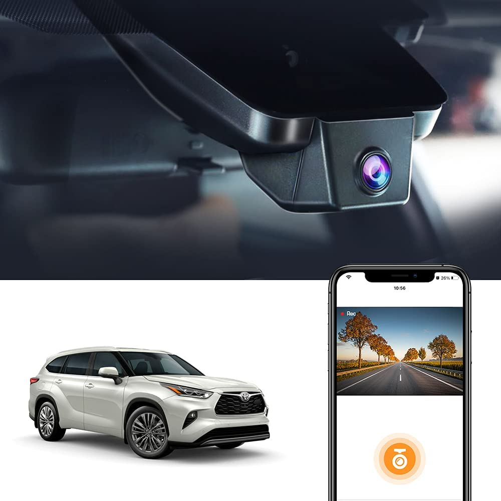Dash Cam for Toyota Highlander 2021 2020 LE SE XLE XSE Limited Platinum UX70 (4th Gen), Fitcamx 2.5K Car Recorder, HD Video OEM Fit,1944P Night Vision, G- Sensor WiFi, Easy Installation with 32GB Card
