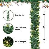 SALCAR PREMIUM Weihnachtsgirlande mit 100 LEDs - 3m - Tannengirlande mit Beleuchtung - 30V - Künstliche Girlande Weihnachtsdeko - Weihnachtsschmuck - Deko für Weihnachten, Treppen, Kamine - Grün - 3