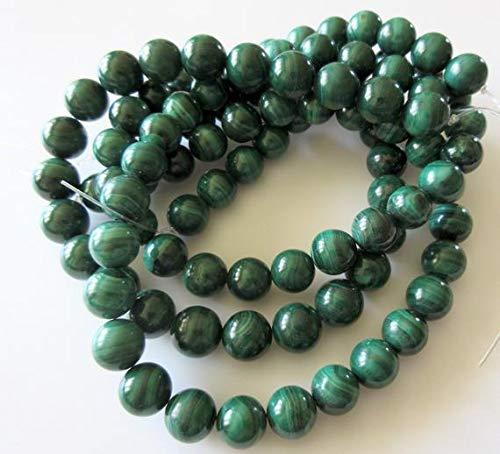 LKBEADS Cuentas redondas de malaquita de 11 mm, cuentas de malaquita natural, gemas de malaquita al por mayor, código HIGH-50114 de 7.5 pulgadas