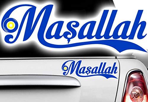 HR-WERBEDESIGN 1x MASALLAH Allah Korusun Aufkleber Islam Hak Yaradan Nazar türkisches blaues Au