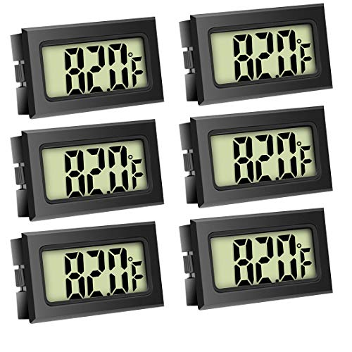 Quiote Refrigerator Fridge Thermometer, Waterproof Digital Freezer Room Mini Thermometer with LCD Display for Kitchen, Home, Restaurants (6 Pack)