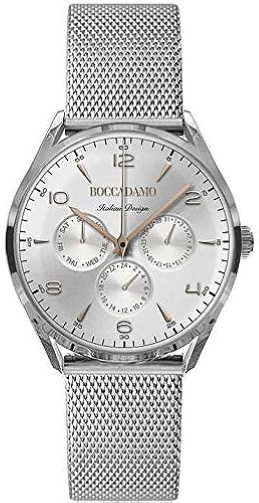 Boccadamo,orologio da uomo,in acciaio con indici e lancette placcate oro rosa Wa011