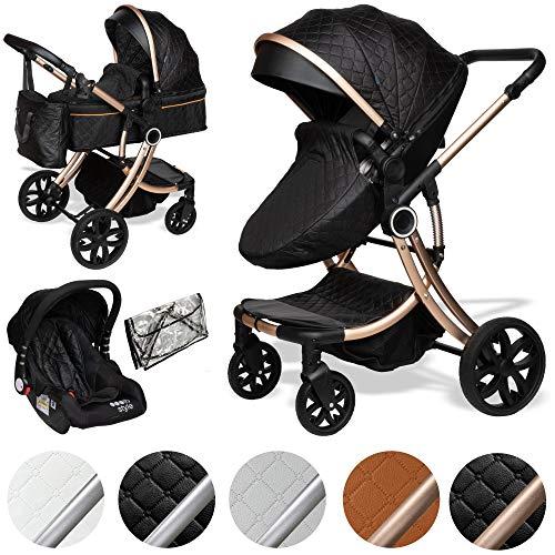 ib style® 3 in 1 JUMA Kombikinderwagen| Kinderwagen + Buggy | inkl. Autoschale | inkl. Regenschutz | Klappbar | SCHWARZ/CHAMPAGNER
