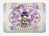Ambesonne Animal Bath Mat, Alice in Wonderland Rabbit and Cat Fiction Story Novel Child Display Story, Plush Bathroom Decor Mat with Non Slip Backing, 29.5' X 17.5', Lilac Yellow