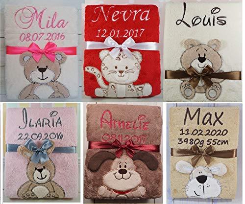 Kuschelige Babydecke mit Namen und Geburtsdatum GESCHENK Taufe GEBURT