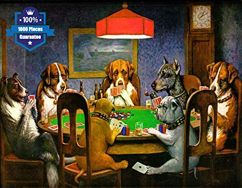 Puzzles for Adults 1000 Pieces Puzzles Jigsaw Puzzles for Adults DIY Puzzle Game Artwork Game Toys Gift for Kids -Dogs Puppy Playing Cards Puzzles 29.5' 19.7'