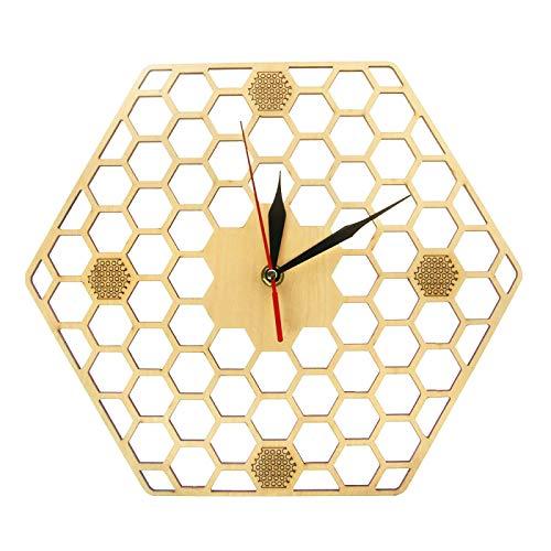 GaoLL Reloj de Pared 3D Minimal Honeycomb Madera Reloj de Pared Hexagonal Decoración del hogar Reloj de Pared geométrico Regalo de Amante de la Abeja Reloj de Madera rústico contemporáneo Reloj