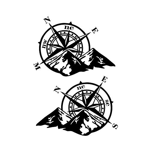 Redcolourful 2 Stück Vinyl Auto Aufkleber Rose Navigieren Auto Aufkleber Offroad Kompass Totem Berg Kompass Motorhaube Autotür Aufkleber; Schwarz Praktisches Autozubehör
