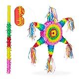 Relaxdays Piñata Estrella México sin Relleno con Palo y Antifaz, Papel, Papel, Multicolor, 62 x 54 x 8,5 cm