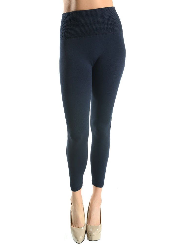 Sofra Womens Waisted Fleece Leggings Black One