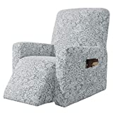 subrtex Stretch Rocking Recliner Silpcover Lazy Boy Chair Covers for Leather and Fabric Sofa with Side Pocket (Light Smoky Gray, Recliner)