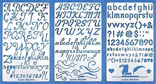 Aleks Melnyk #34 Metal Journal Stencils/Alphabet Letter Number, ABC/Stainless Steel Stencils Kit 3 PCS/Templates Tool for Painting, Wood Burning, Pyrography and Engraving/Scrapbooking/Crafting/DIY