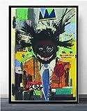 MJKLU Decoración de Laboratorio Chica Negra con Corona Dorada Sonriendo Rock Graffiti Espacio Creativo decoración de la habitación de los niños 50X65CM