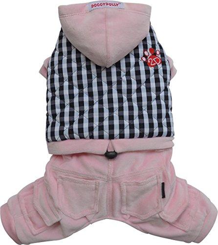 Doggydolly W366 Lieflijke combinatie hondenjas/broek in roze- zwart/wit, 4 opgestikte tassen en borduurwerk 2D poten, XXS(Brust 26-28cm;Rücken 13-15cm), roze