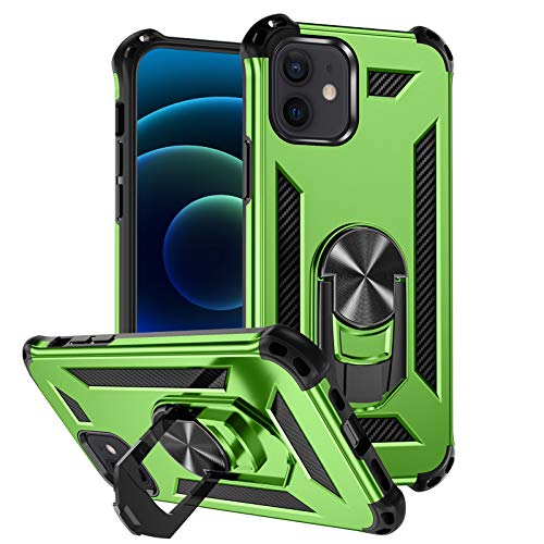 Mastten Phone Case Compatible with iPhone 12/iPhone 12 Pro 6.1' 2020, 2-in-1 Layer Shock-Absorption Protective Case with Magnetic Car Mount Ring Kickstand, Bright Green