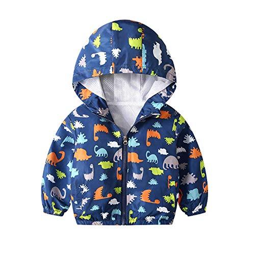 JinBei Bimbo Cappotto Giacca a Vento Con Cappuccio Bambino Sottile Dinosauro Giacche e Cappotti Ragazzo Blu Cerniera Primavera Autunno Protezione Solare Vestiti Impermeabile Abbigliamento 2-3 Anni