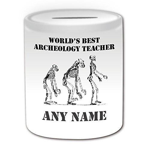 UNIGIFT Gepersonaliseerd geschenk - 's Werelds beste Archeologie Leraar/Skeleton Fossil Money Box (Academic Design Thema, wit) - Naam/boodschap op uw unieke - Spaar Piggy Bank - School College University