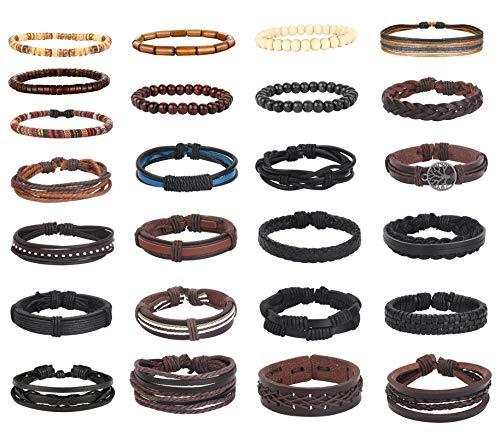 Sailimue 25Pcs Braided Leather Bracelets Set For Men Women Wooden Beads Hemp Cords Woven Cuff Wrap Bracelets Adjustable
