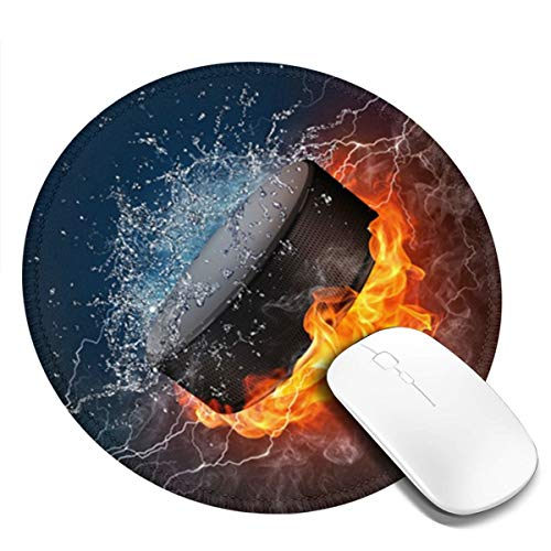 Mouse Pad, Anti Slip Ice Hockey Fire Mouse Mat for Desktops, Computer, Pc and Laptops, Customized Round Mouse Pad for Office and Home