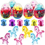 6 Pack Pre Filled Jumbo Deformation Easter Eggs with Unicorn Pony Toys, 3.4 inches Filled Eggs for Easter Egg Hunt, Basket Stuffers Filler, Classroom Prize Supplies