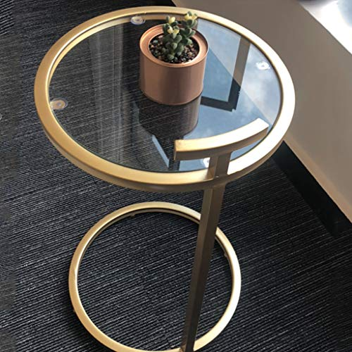 CGF- High Stool Coffee Table Tempered Glass Coffee Tables Decorative Accent Side End Tables Plant Stand Chair for Bedroom, Living Room, Home Office and Patio(Gold) 40x40x70cm