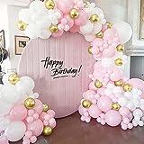 Bellatoi 126 piezas de arco de globo de guirnalda de oro y blanco rosa, juego de guirnaldas de globos, globo de macaron, globo de látex para cumpleaños, bodas, aniversario, baby shower