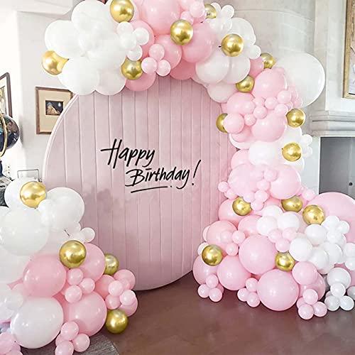 Bellatoi 126 pezzi ghirlanda oro e bianco palloncini arco palloncini set ghirlanda, Palloncino rosa macaron, palloncino in lattice per compleanno matrimonio anniversario Baby Shower Party