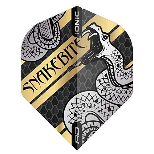 RED DRAGON Snakebite Hardcore Coiled Snake Gold Dart Flights - 3 Sets Per Pack (9 Dart Flights in total)