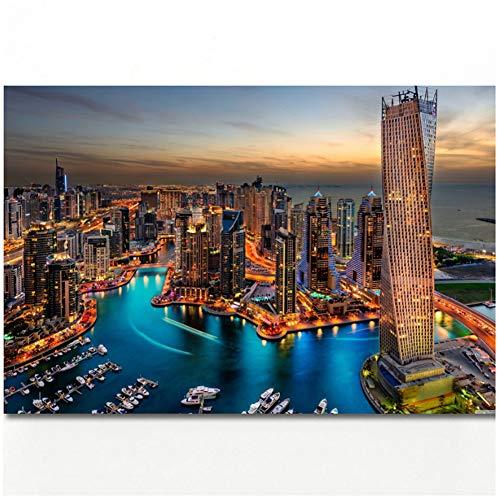 wzgsffs Dubai Marina Wolkenkratzer Wandbilder Bild Stadtbilder Poster Leinwandbilder Wandbilder für Wohnzimmer Dekor Druck auf Leinwand -60x90cm Ohne Rahmen