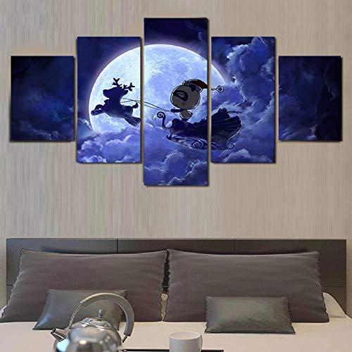 GBxebenYN02 5 panels A romantic purple night cheap Decorative canvas5 panel office background wall decoration Background wall art deco canvas 150x80cm