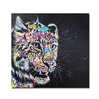 キャンバスのポスター、壁画、落書きアートかわいい虎のキャンバスの絵画カラフルな印刷されたポスターとプリント壁の絵をリビングルームの家の装飾のために-フレームレス50x50_A