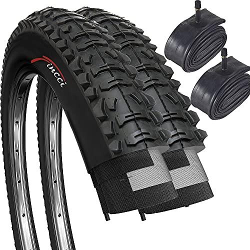Fincci Set Paar 26 x 1,95 Zoll 53-559 Faltbar Reifen mit Autoventil Schläuche für MTB Mountain Hybrid Fahrrad (2er Pack)