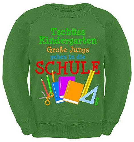 HARIZ Kinder Sweater Große Jungs Gehen In Die Schule Einschulung Plus Geschenkkarten Limette Grün 140/9-11 Jahre