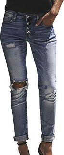 Qootent Women Pencil Pants Jeans Hole Skinny Elastic Stretch Slim High Trouser