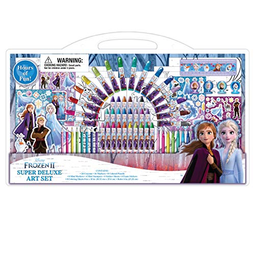 Disney Frozen 2 Super Deluxe Art Supplies Set w/Coloring Pages, Stampers, Stickers - 77 Pcs