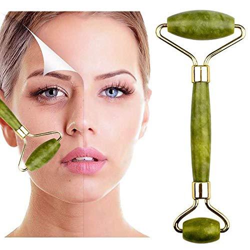 Massageador facial Jade Roller, massageador facial de jade, massageador de rosto, pescoço e olho, ferramenta de emagrecimento facial – massageador facial para olhos esbeltos antirrugas
