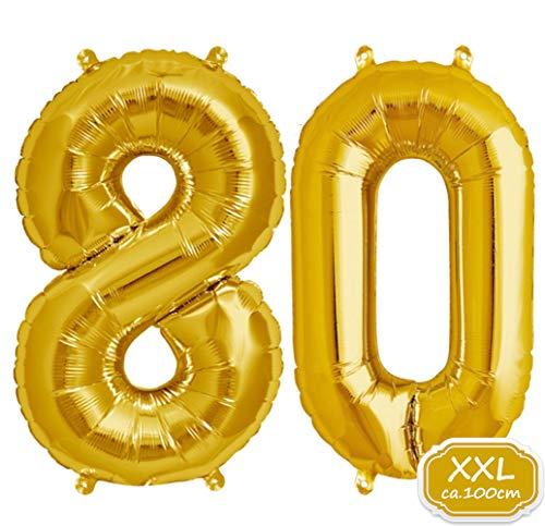 FUNXGO XXL Folienballon Zahl [ca.100cm], Geeignet für Geburtstage Überraschungsparties Hochzeiten Jubiläen Einweihungen Einstände Abschlüsse und Feste (Gold[80])