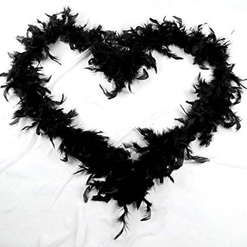 Ukallaite 2 m Federboa-Streifen, flauschig, für Kostüme, Junggesellinnenabschiede, Dressup, Hochzeit, Party, Schwarz