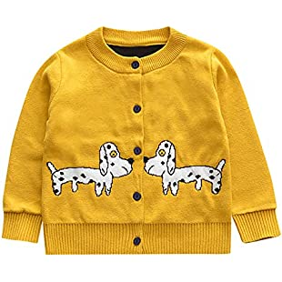 Yuutimko Toddler Baby Girls Children's Long Sleeves Spotted Puppy Print Cardigan Knit Kids Clothes (Yellow, 110)