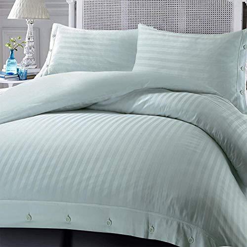 Nimsay Home - Set copripiumino per letto matrimoniale, in rasatello di cotone egiziano 100% cotone egiziano a righe satinate, colore: Argento