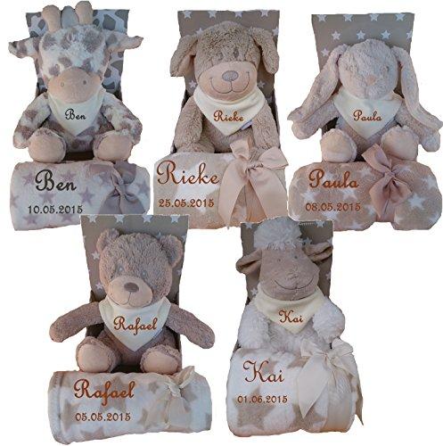*Baby Kinder Set 3 teilig Babydecke mit Namen bestickt Teddy Halstuch Taufe Geburt*