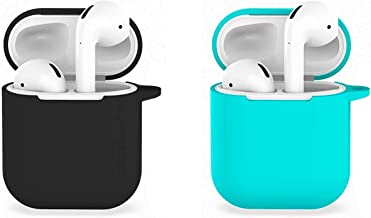 [2Pack] Compatible with Airpods 1/2 USB Wire Charging Case, Accessories Shockproof Cover Portable & Protective Silicone Skin Cover Case - Black+Blue