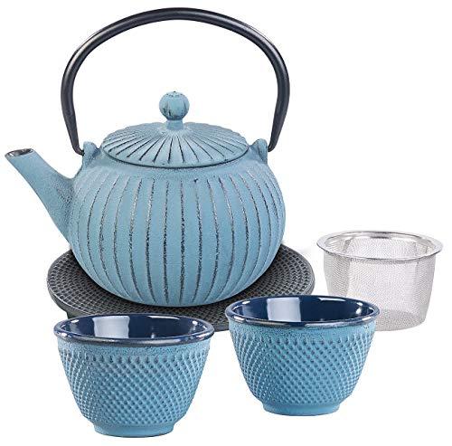 Rosenstein & Söhne Teeservice mit Kanne: Asiatische Teekanne, Untersetzer und 2 Becher aus Gusseisen, blau (Teeservice Gusseisen)